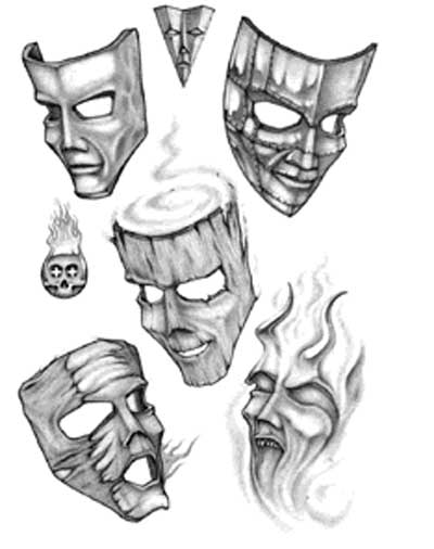 фото тату маски и клоуны