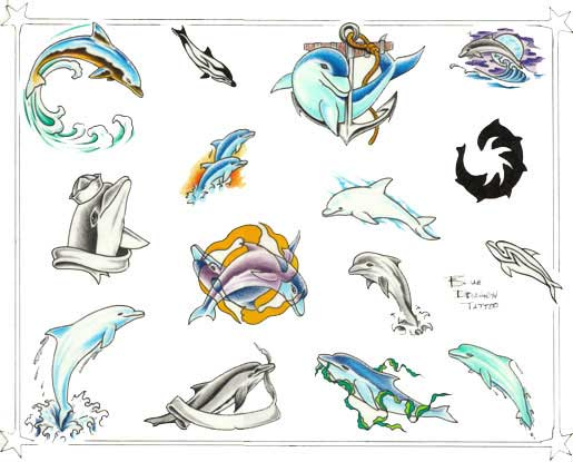 Тату дельфин эскизы